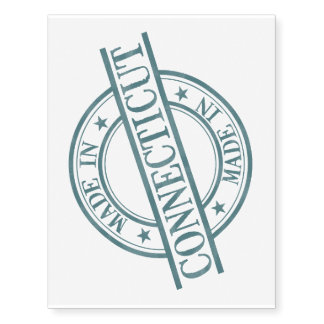 Made In Connecticut Stamp Style Logo Symbol Green Temporary Tattoos