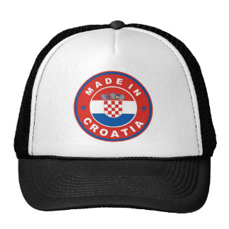 made in croatia country flag product label round trucker hat