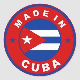 made in cuba country flag product label round classic round sticker