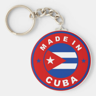 made in cuba country flag product label round keychain