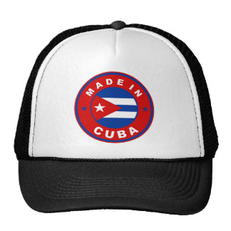 made in cuba country flag product label round trucker hat