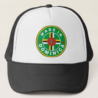 made in dominica country flag label round stamp trucker hat