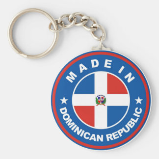 made in dominican republic flag label round stamp keychain