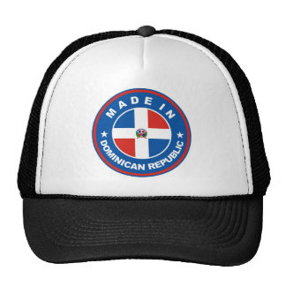 made in dominican republic flag label round stamp trucker hat