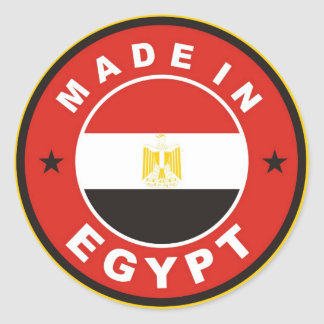 made in egypt country flag label round stamp classic round sticker