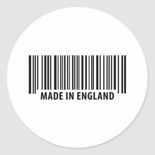 made in england bar code barcode classic round sticker
