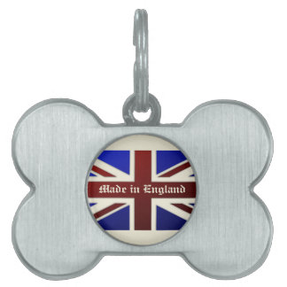 Made in England Metallic Union Jack Flag Pet Tag