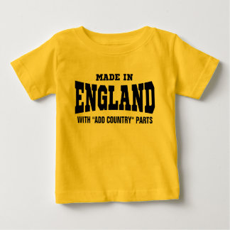 """Made In England With """"add country"""" Parts Custom Baby T-Shirt"""