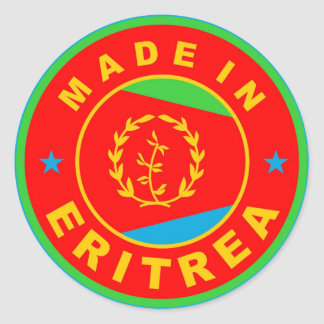 made in eritrea country flag product label round classic round sticker