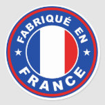 made in france country flag label fabrique french round sticker