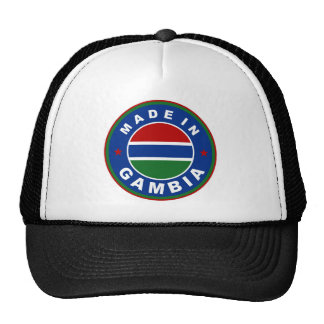 made in gambia country flag product label round trucker hat