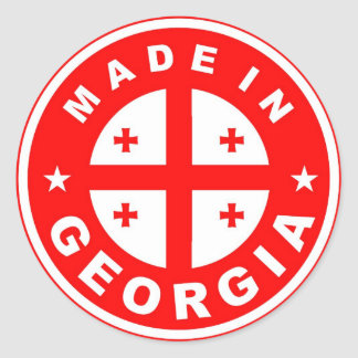 made in georgia country flag label round stamp classic round sticker
