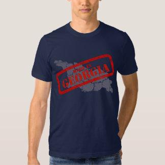 Made in Georgia Grunge Map Navy Blue T-shirt