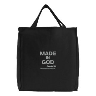 Made in God bible quotes Embroidered Tote Bag