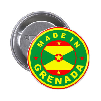 made in grenada country flag product label round 2 inch round button
