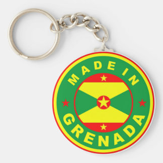 made in grenada country flag product label round basic round button keychain