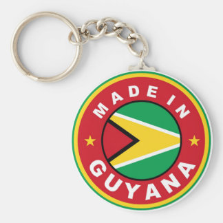 made in guyana country flag product label round basic round button keychain
