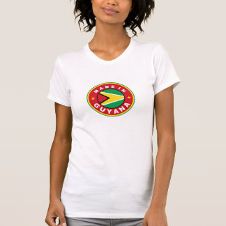 made in guyana country flag product label round t shirt