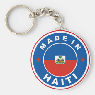 made in haiti country flag product label round basic round button keychain