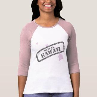 Made in Hawaii Grunge Map Ladies Pink Raglan Shirt