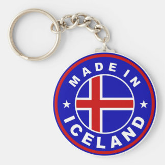 made in iceland country flag product label round basic round button keychain