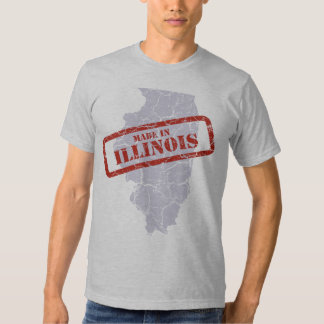 Made in Illinois Grunge Map Grey T-shirt