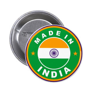 made in india country flag label round stamp pinback button