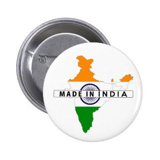made in india country map shape flag label pinback button