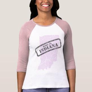Made in Indiana Grunge Map Ladies Pink Raglan T-Shirt