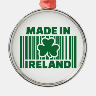 Made in Ireland barcode Round Metal Christmas Ornament