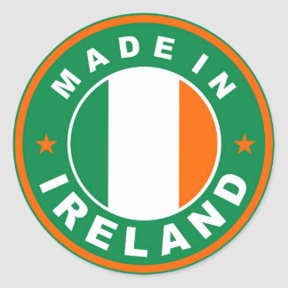 made in ireland country flag product label round classic round sticker