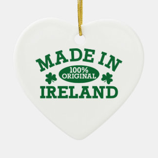 Made in Ireland Double-Sided Heart Ceramic Christmas Ornament