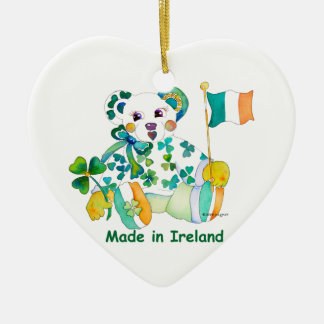 Made in Ireland St Patricks Day Double-Sided Heart Ceramic Christmas Ornament