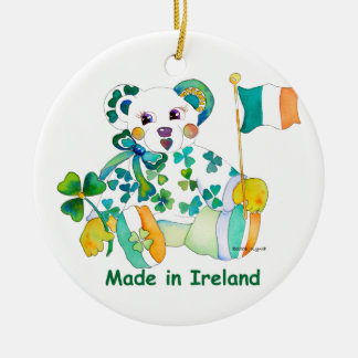 Made in Ireland St Patricks Day Double-Sided Ceramic Round Christmas Ornament