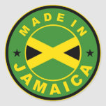 made in jamaica country flag product label round stickers