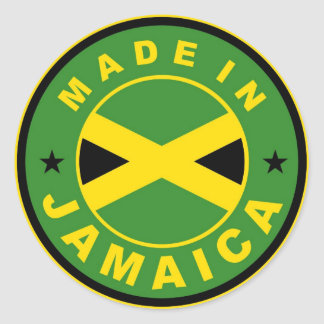 made in jamaica country flag product label round classic round sticker
