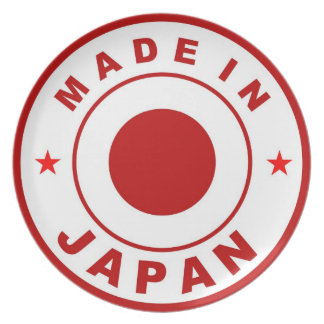 made in japan country product label flag dinner plate