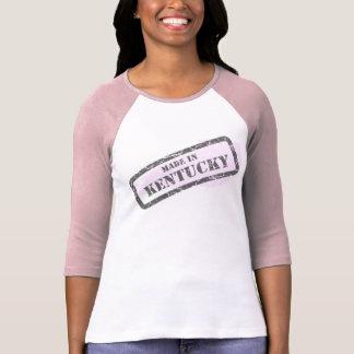 Made in Kentucky Grunge Map Ladies Pink Raglan Shirts