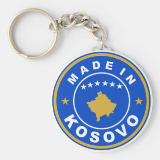 made in kosovo country flag product label round basic round button keychain