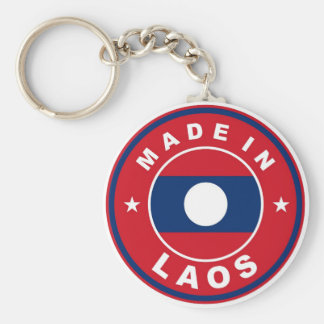 made in laos country flag product label round basic round button keychain