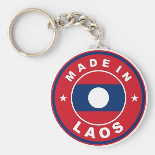 made in laos country flag product label round key chain