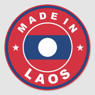 made in laos country flag product label round sticker
