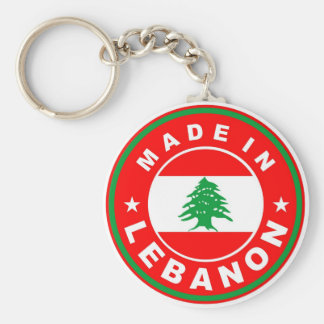 made in lebanon country flag product label round basic round button keychain