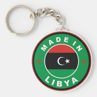 made in libya country flag product label round basic round button keychain