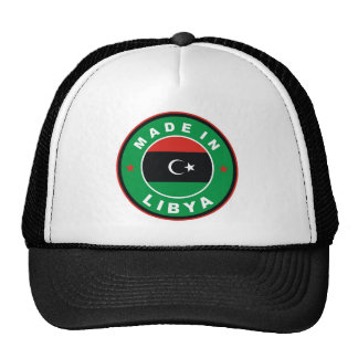 made in libya country flag product label round trucker hat