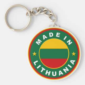made in lithuania country flag product label round basic round button keychain
