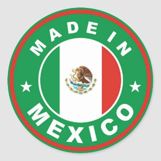 made in mexico country flag product label round