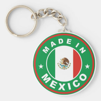 made in mexico country flag product label round basic round button keychain
