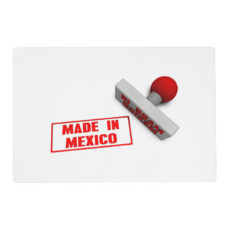 Made in Mexico Stamp or Chop on Paper Concept in 3 Laminated Place Mat
