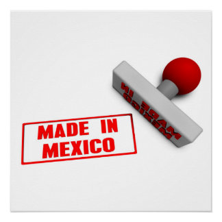 Made in Mexico Stamp or Chop on Paper Concept in 3 Poster